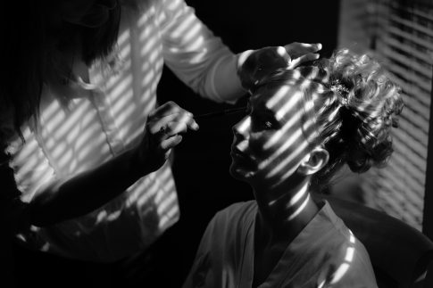 Image of bride getting ready for wedding in Yorkshire