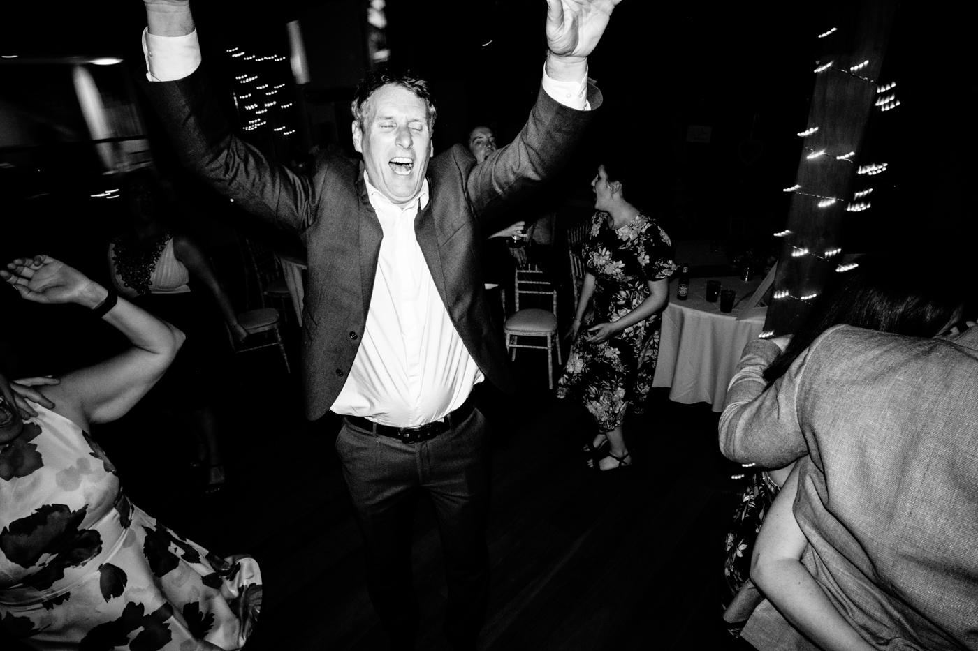 Image of man dnacing at wedding at Northorpe Barn in wakefield