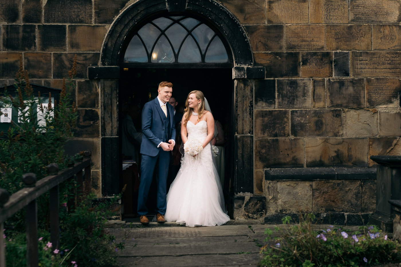 Image of bride and groom at wedding at St James Church in Leeds