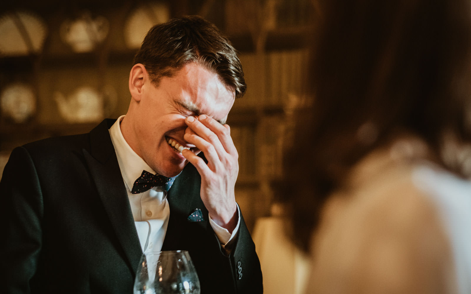 guest laughing at relaxed wedding in yorkshire photography