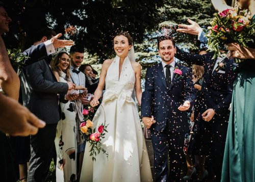 Confetti shot of Georgia and Carl by York Wedding Photographer Andy Withey