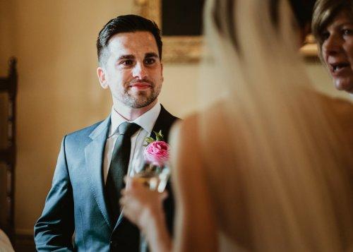 Groom looks at bride at Middlethorpe Hall in York