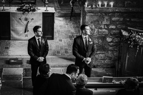 Groom and best man at Bride and groom at everilda church in nether poppleton